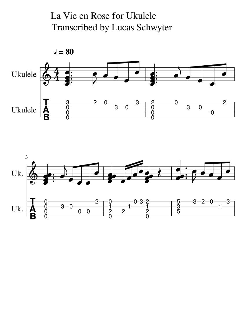 La Vie En Rose For Ukulele Transcribed By Lucas Schwyter Sheet Music Diagram Guitar Download Free In Pdf Or Midi