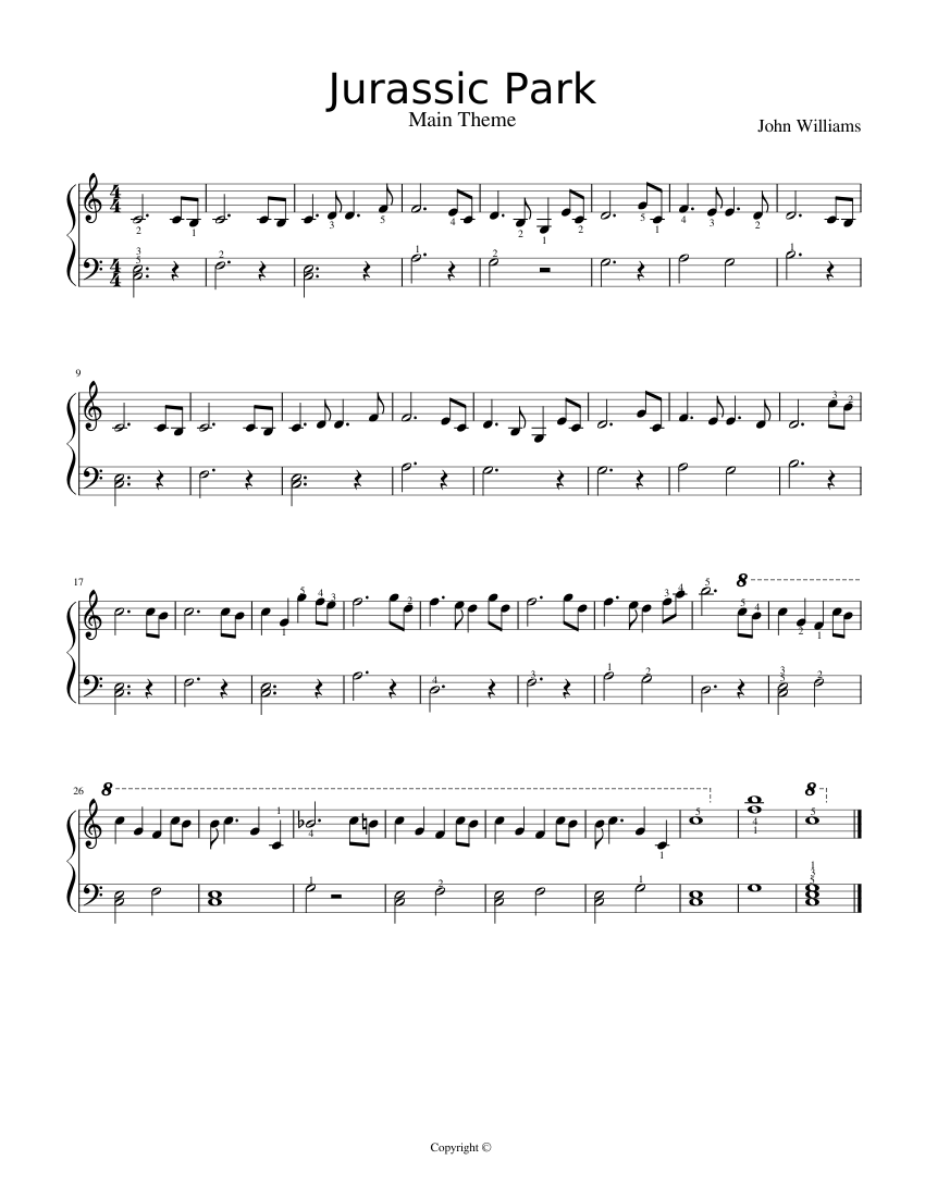 free piano sheet music jurassic park theme song