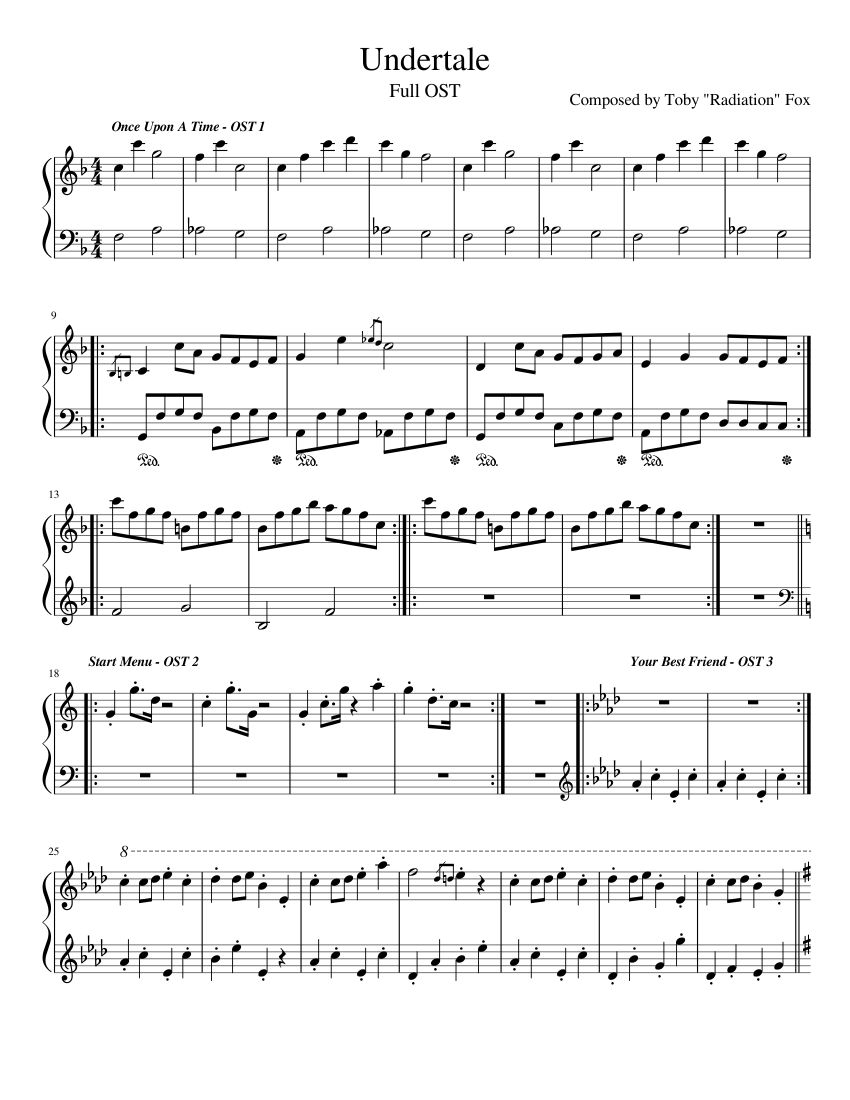 UNDERTALE - FULL OST sheet music for Piano download free in