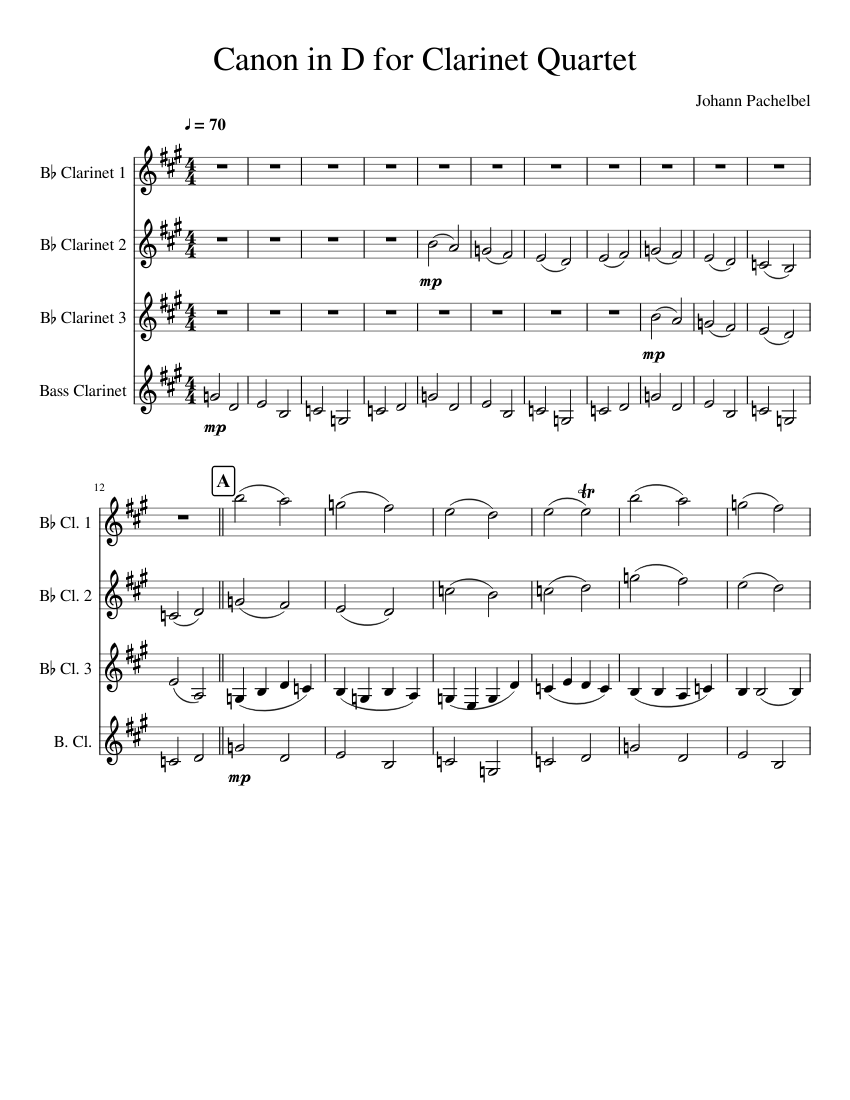 canon in d for clarinet free sheet music