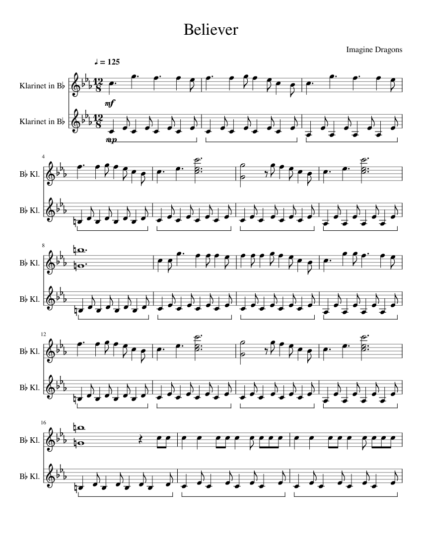 picture regarding Free Printable Clarinet Sheet Music identify Believer - Consider Dragons - Clarinet sheet audio for