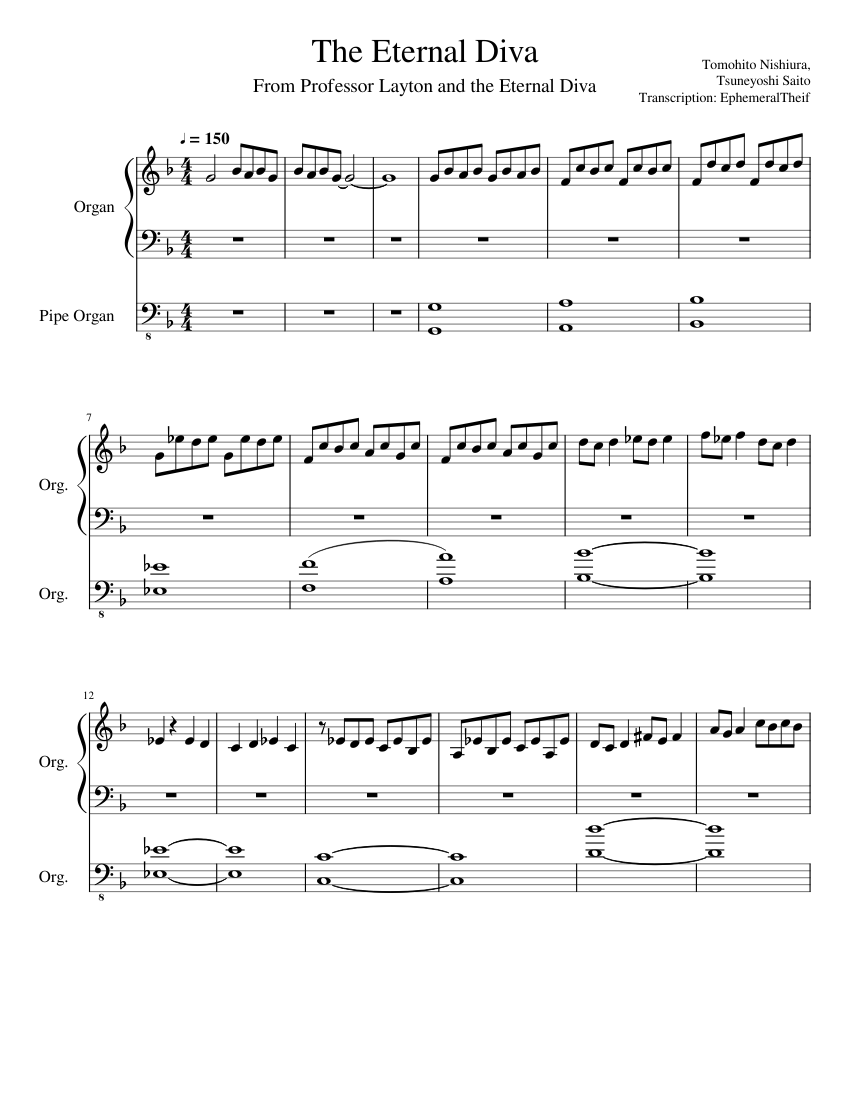 The Eternal Diva Sheet Music For Organ Organ Solo Musescore Com