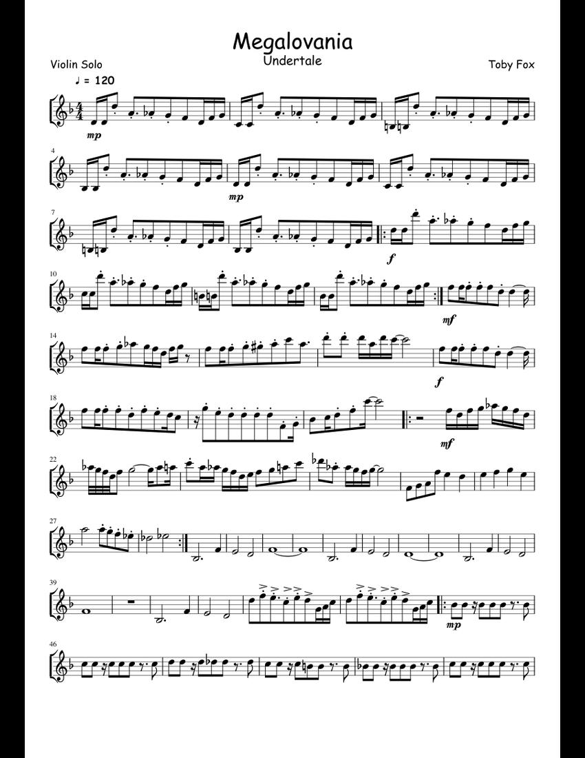 Megalovania- Violin Solo sheet music for Violin download