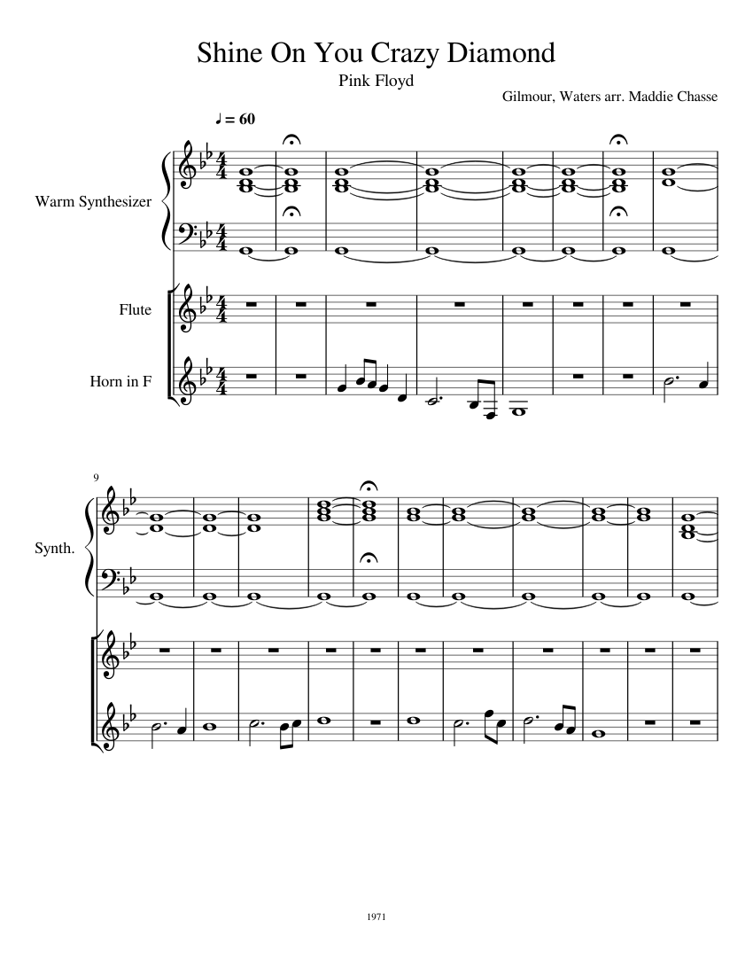 shine on you crazy diamond sheet music for flute synthesizer french horn download free in pdf. Black Bedroom Furniture Sets. Home Design Ideas