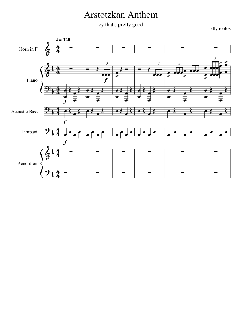 Papers Please Theme Sheet Music For Piano French Horn Bass
