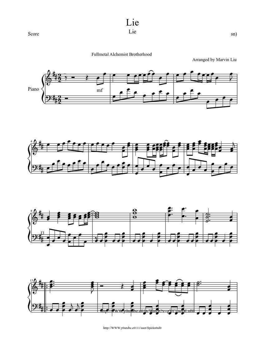 Fullmetal Alchemist Brotherhood Ending 1 Piano Sheet music ...