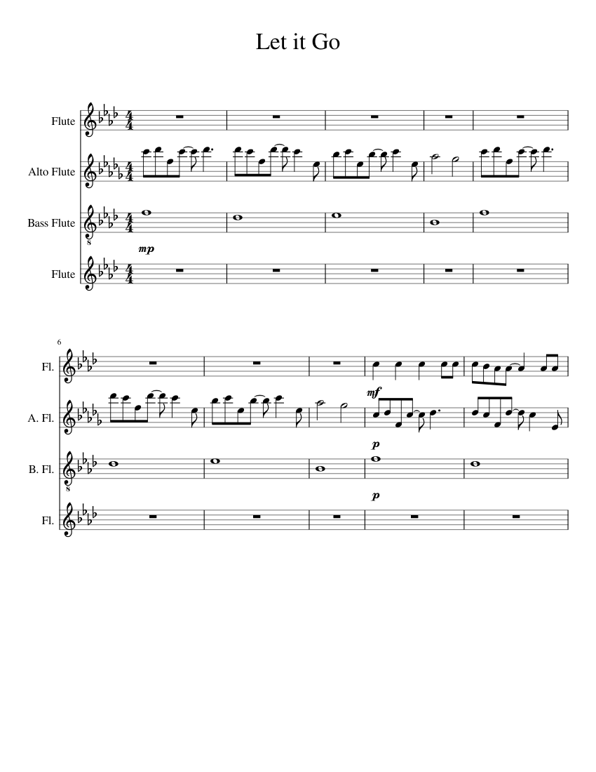 Let It Go Flute Choir Sheet Music For Flute Download Free In Pdf Or