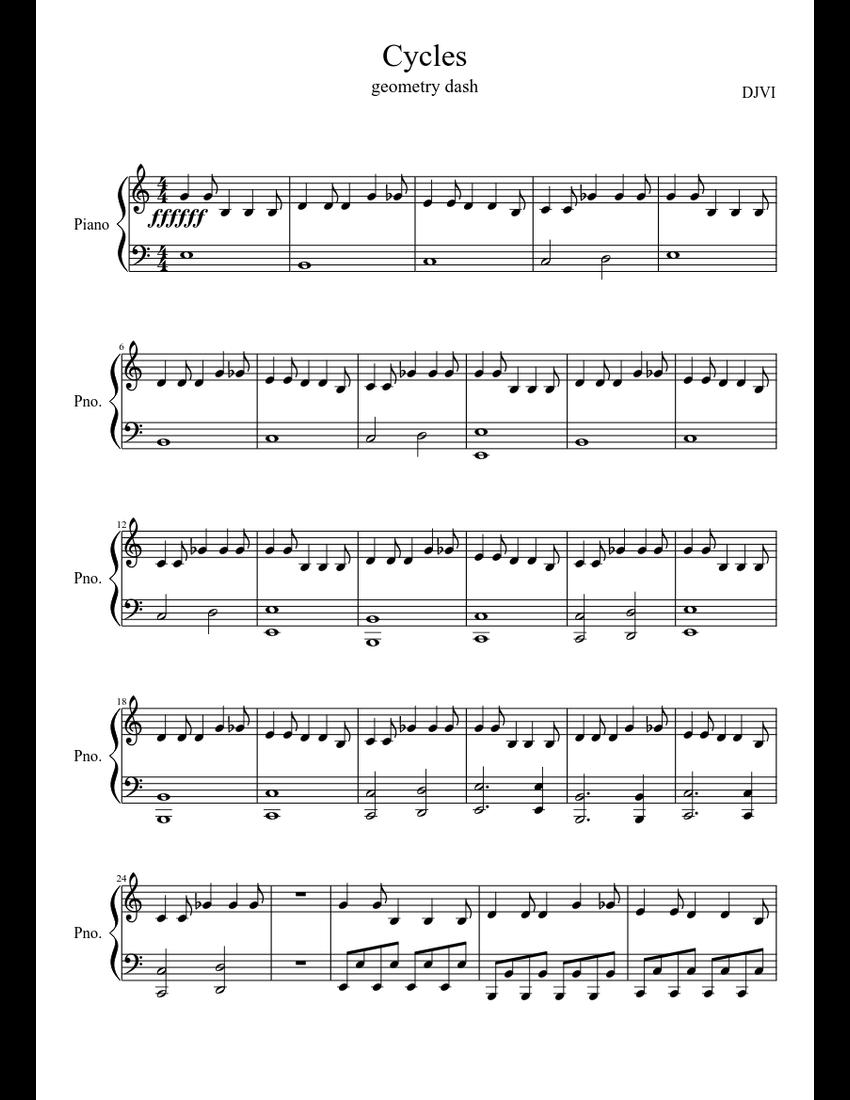 Cycles Geometry Dash - piano tutorial