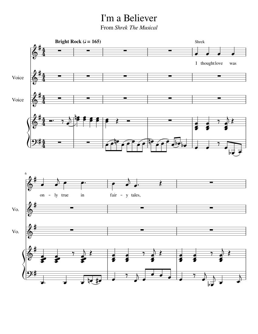 Shrek The Musical Vocal Score Pdf
