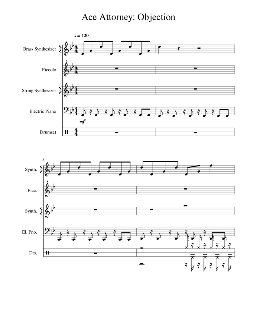 Phoenix Wright Ace Attorney Objection Sheet Music For Drum Group Flute Piccolo Piano Strings Group More Instruments Mixed Quintet Musescore Com