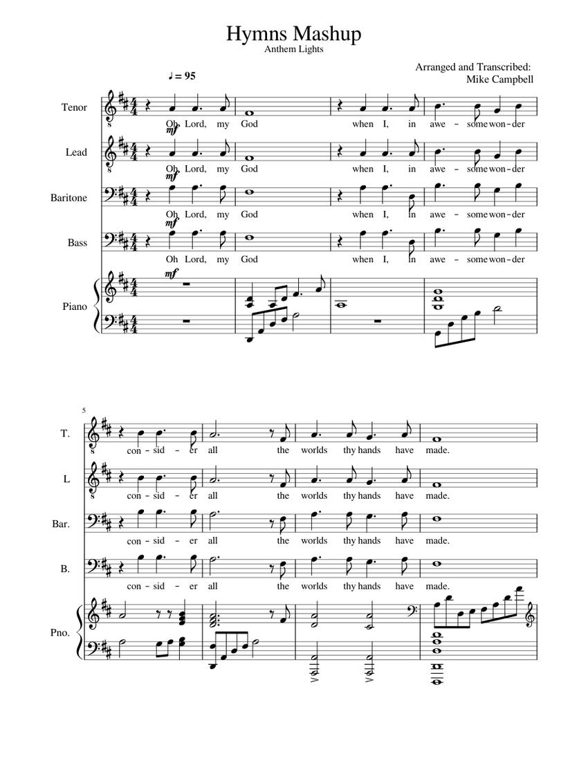 Hymns Mashup Anthem Lights Sheet Music For Piano Tenor Bass