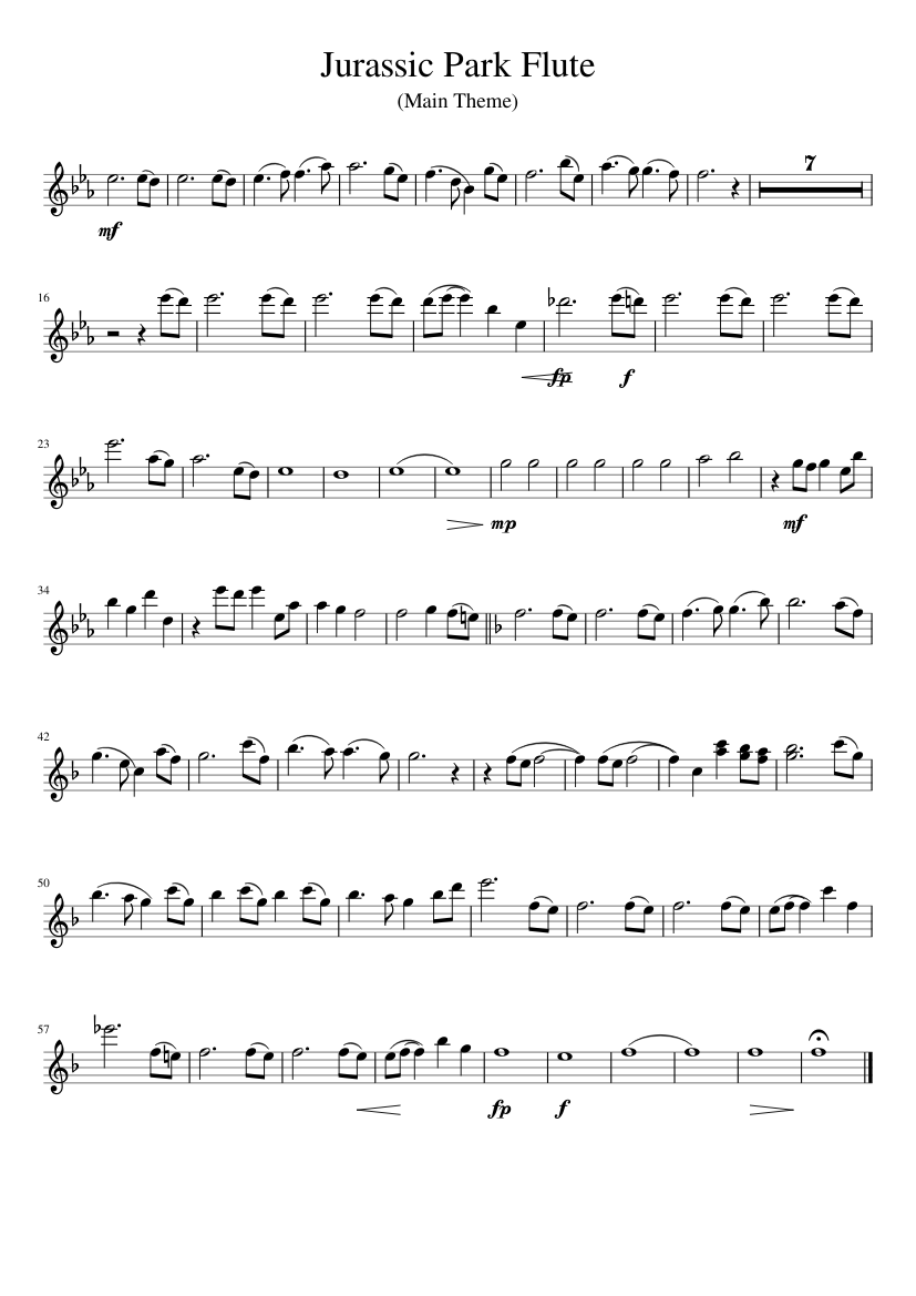 image relating to Printable Flute Sheet Music titled Juric Park Flute sheet tunes for Flute obtain no cost inside