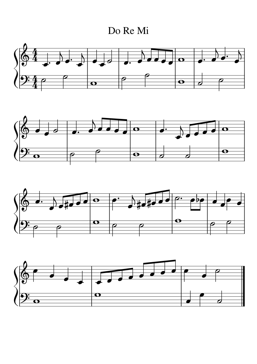 graphic about Free Printable Sheet Music for the Sound of Music named Do Re Mi sheet new music for Piano down load free of charge inside of PDF or MIDI