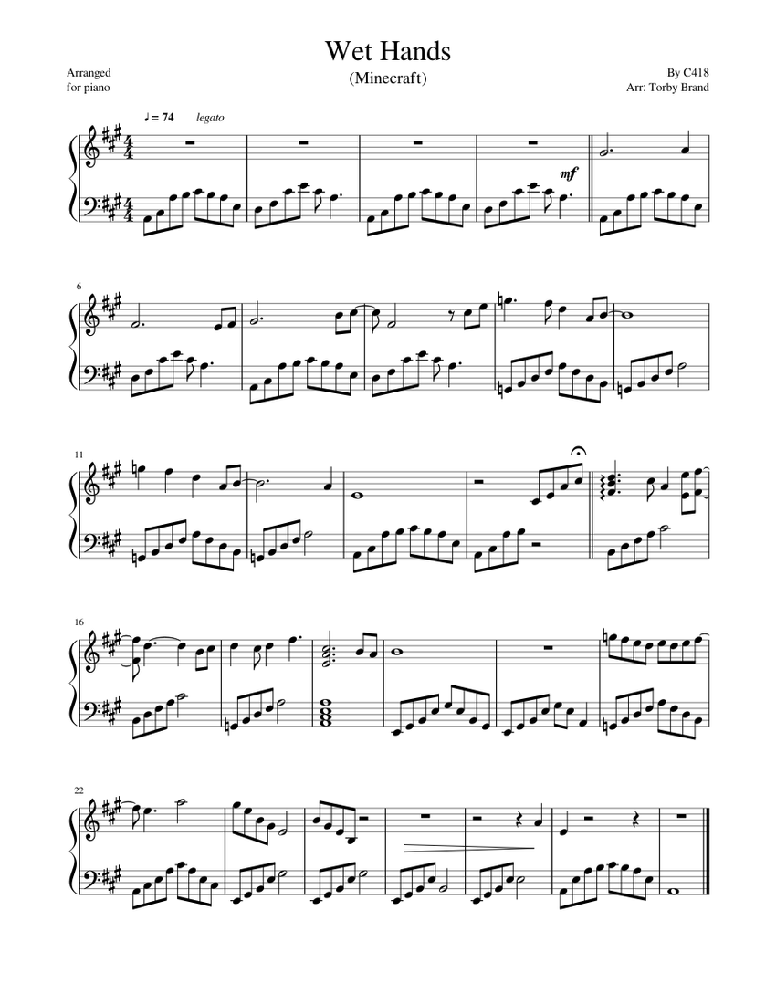 Wet Hands (Minecraft) sheet music for Piano download free in PDF or MIDI