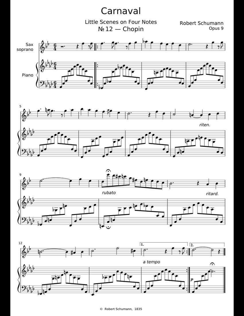 Robert Schumann – Carnaval – «Chopin» – Sax Soprano & Piano sheet
