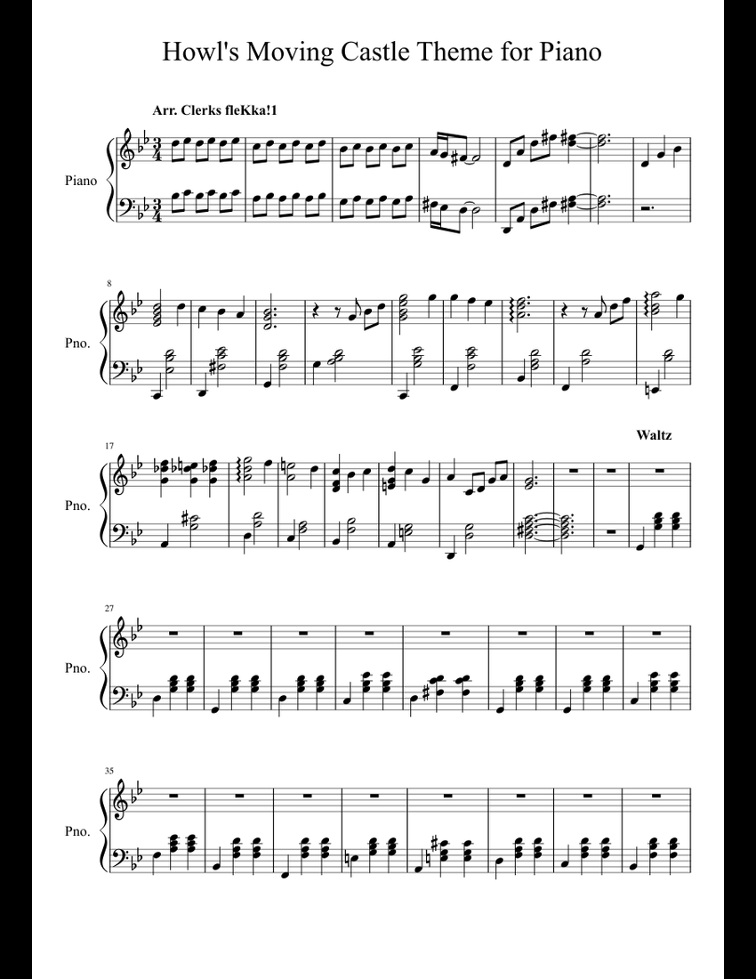 howl u0026 39 s moving castle theme  piano only  sheet music for