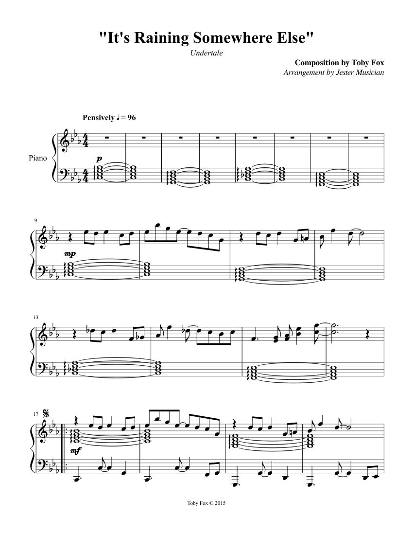 "Undertale - 063 ""It's Raining Somewhere Else"" sheet music ..."