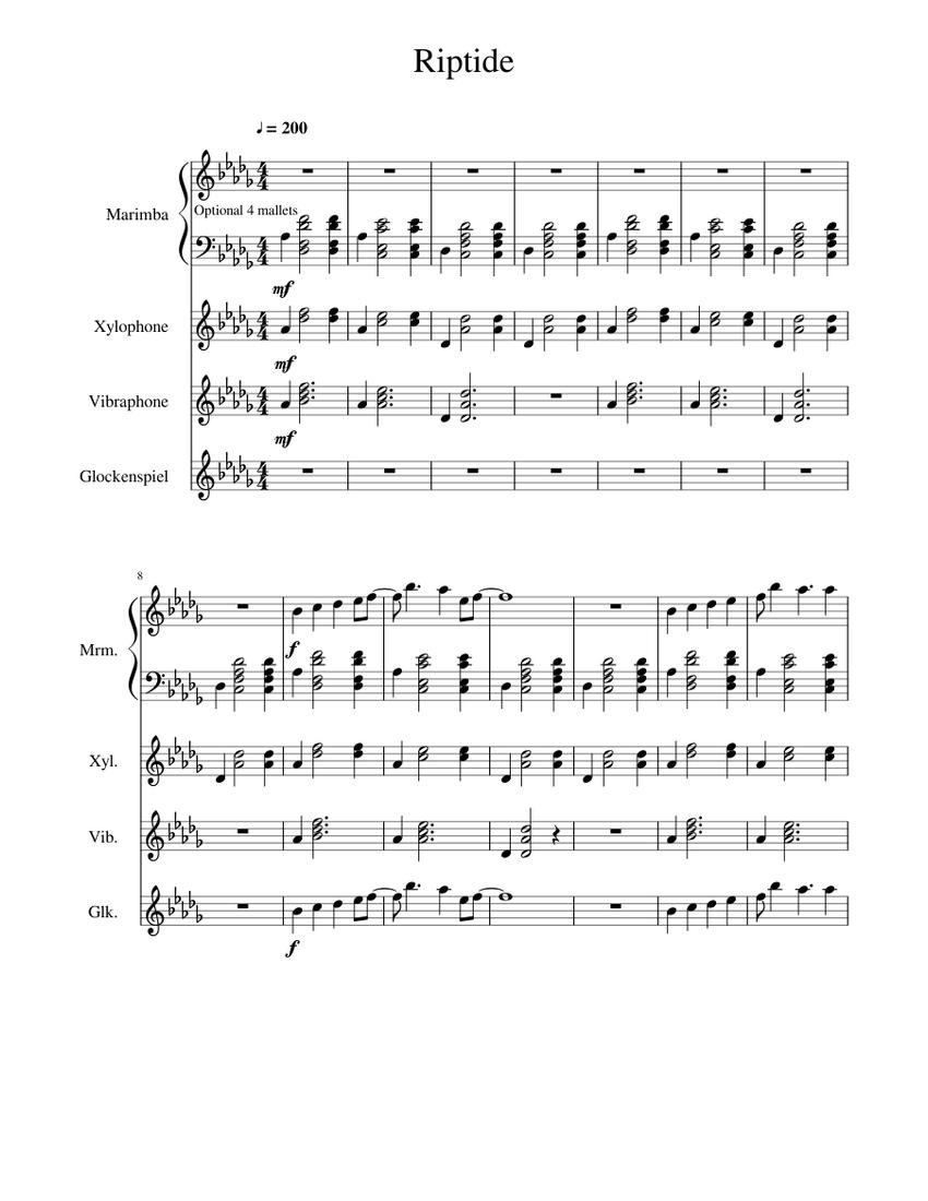 Riptide Sheet music for Marimba, Glockenspiel, Vibraphone, Xylophone (Percussion Quartet ...