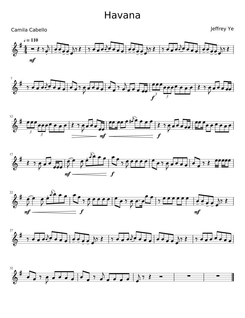 Havana alto sax sheet music for Piano, Alto Saxophone
