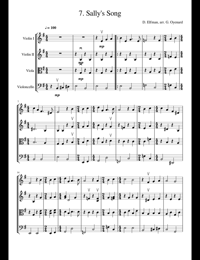 The Nightmare Before Christmas: 7. Sally's Song sheet music for Violin, Viola, Cello download ...