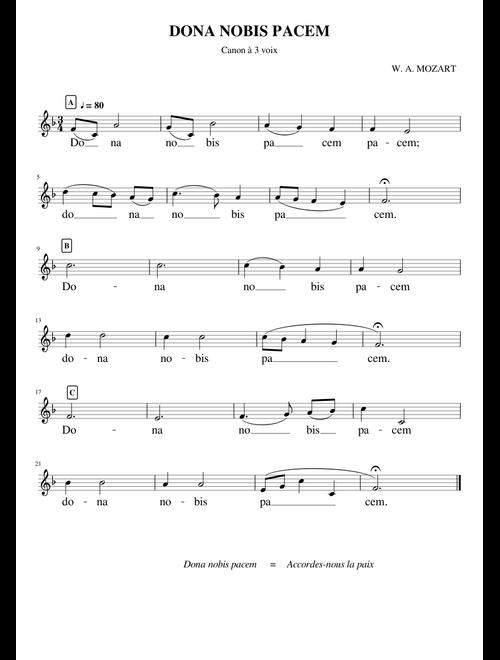 Dona nobis pacem - Mozart (Canon 3 voix MuseScore) sheet
