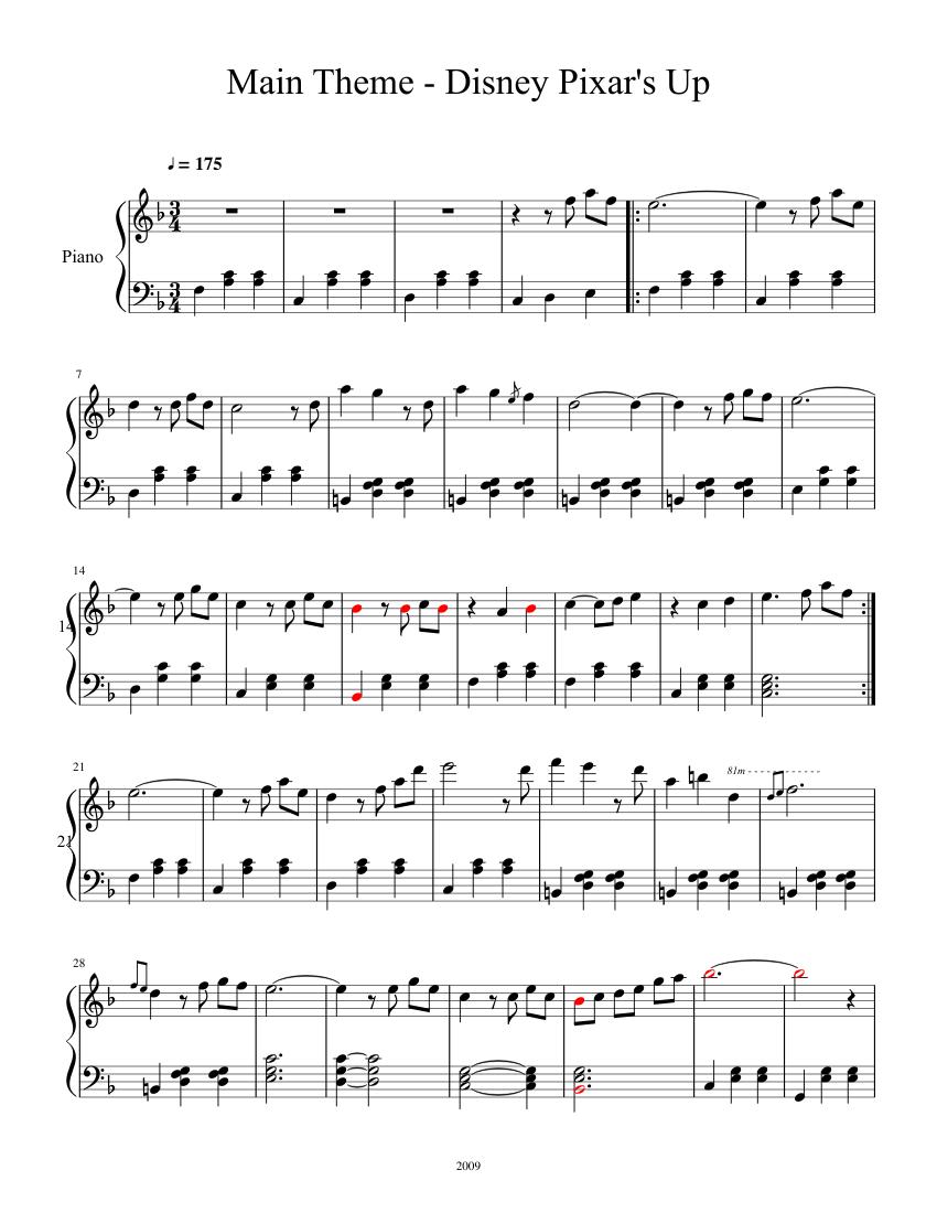 Main Theme - Disney Pixar's Up sheet music for Piano download free in PDF or MIDI