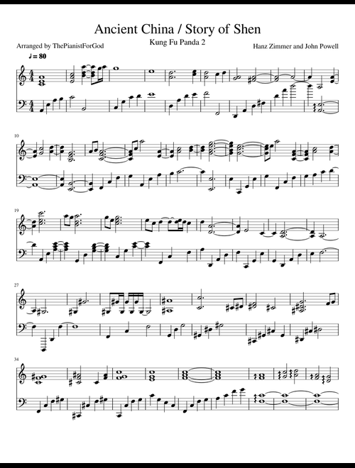 Ancient China / Story of Shen (Kung Fu Panda 2) sheet music