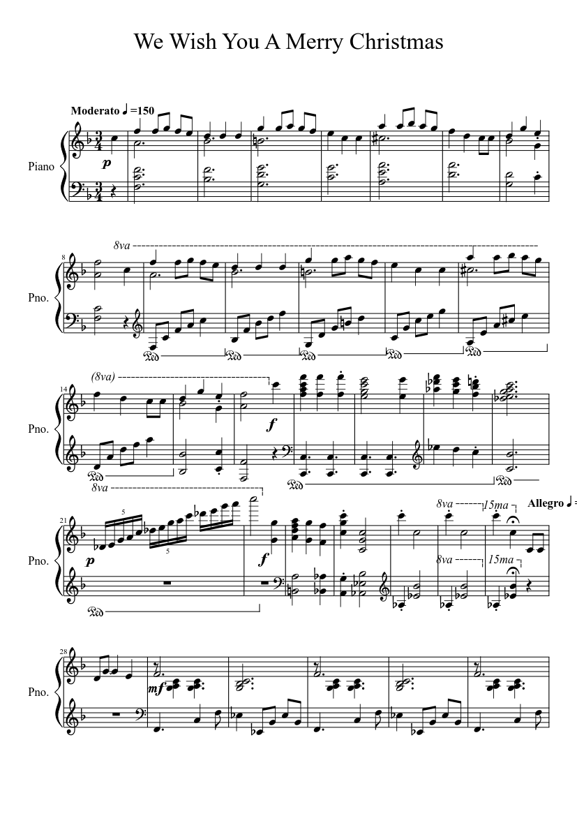 graphic about Printable Christmas Sheet Music known as We Need On your own A Merry Xmas sheet new music for Piano obtain