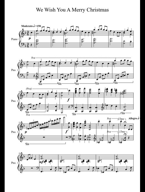 We Wish You A Merry Christmas Sheet Music For Piano Download