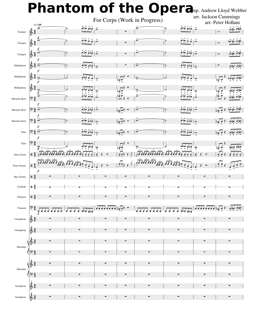Phantom of the Opera- Drum Corps (WIP) sheet music for