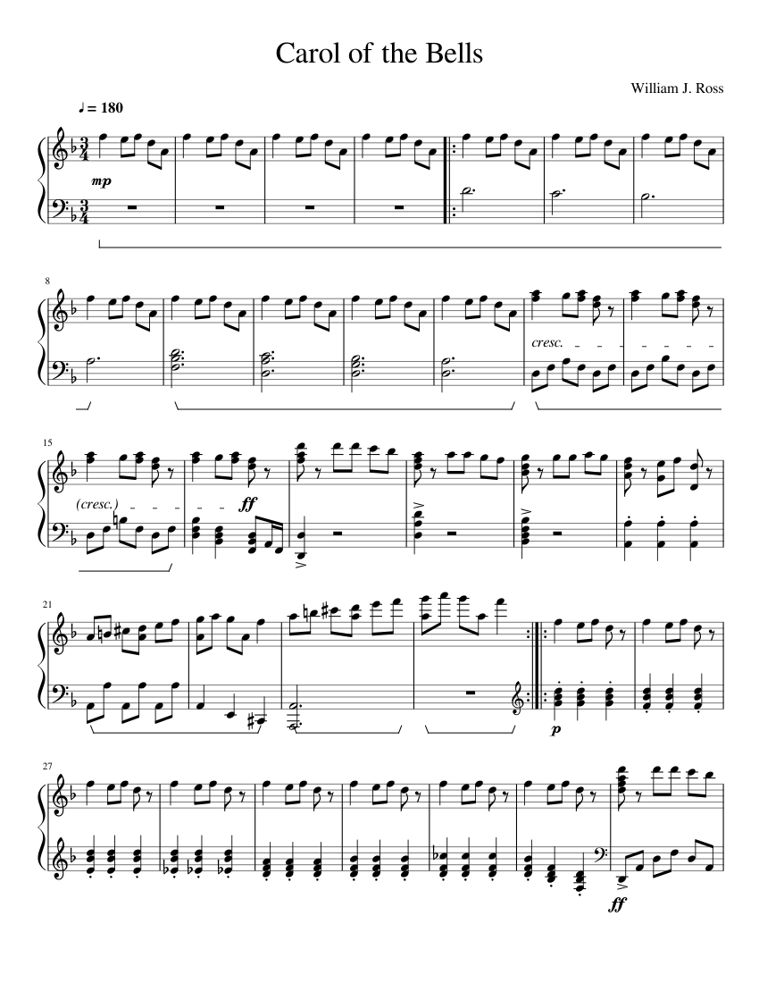 graphic relating to Carol of the Bells Free Printable Sheet Music named Carol of the Bells sheet songs for Piano down load totally free inside