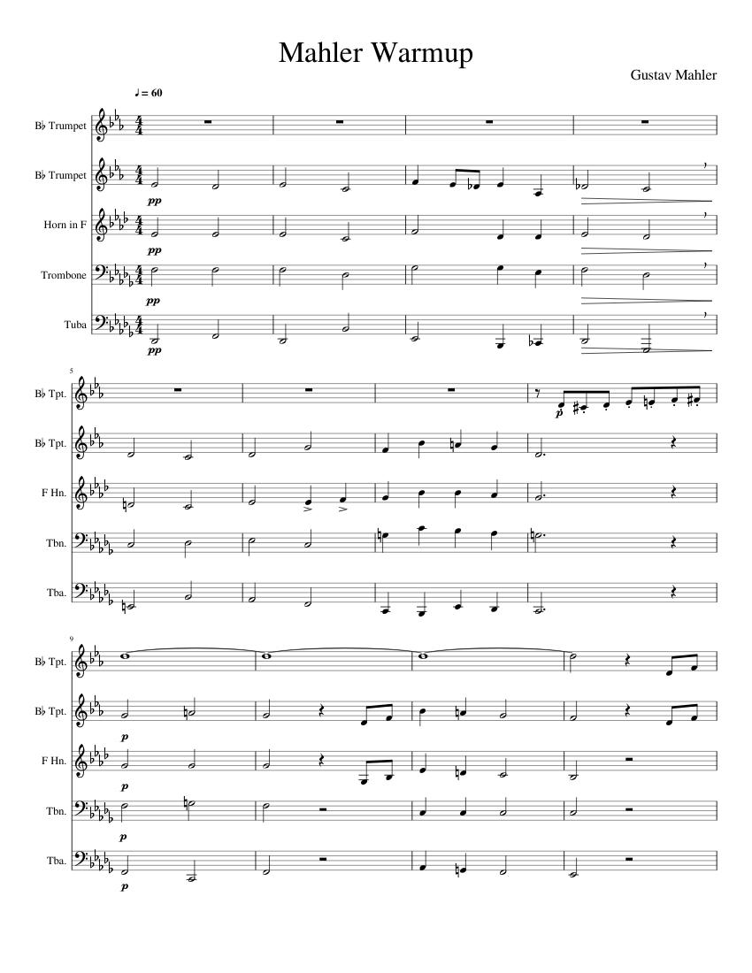 Excerpt from Mahler 2 for Brass Quintet sheet music for