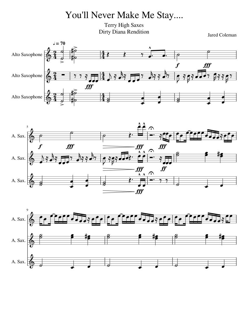 Bergentruckung Saxes Sheet music for Saxophone (Alto