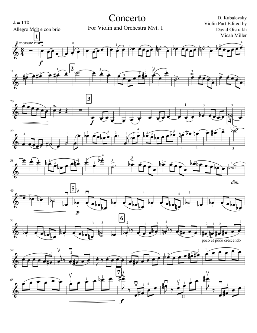 Concerto In C major by Kabalevsky sheet music for Violin download