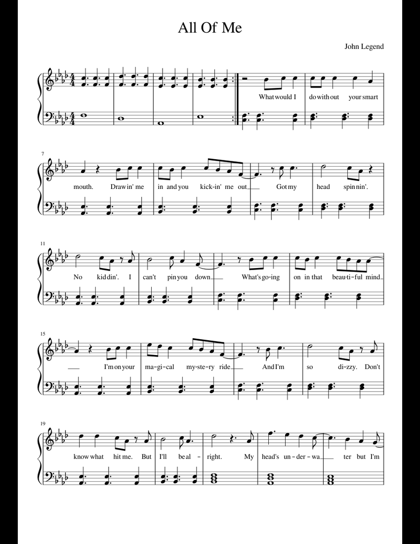picture relating to All of Me Easy Piano Sheet Music Free Printable known as All Of Me sheet new music for Piano obtain absolutely free within just PDF or MIDI