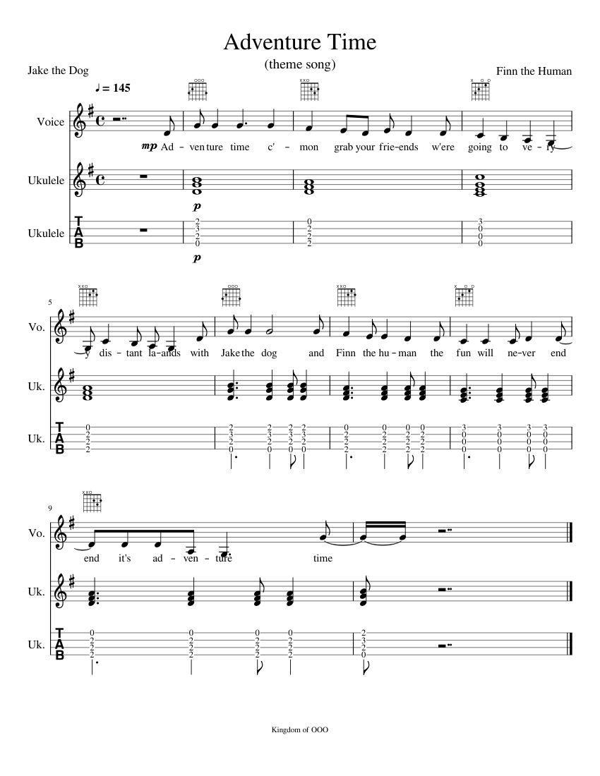 Adventure Time sheet music for Voice, Guitar download free in PDF or MIDI