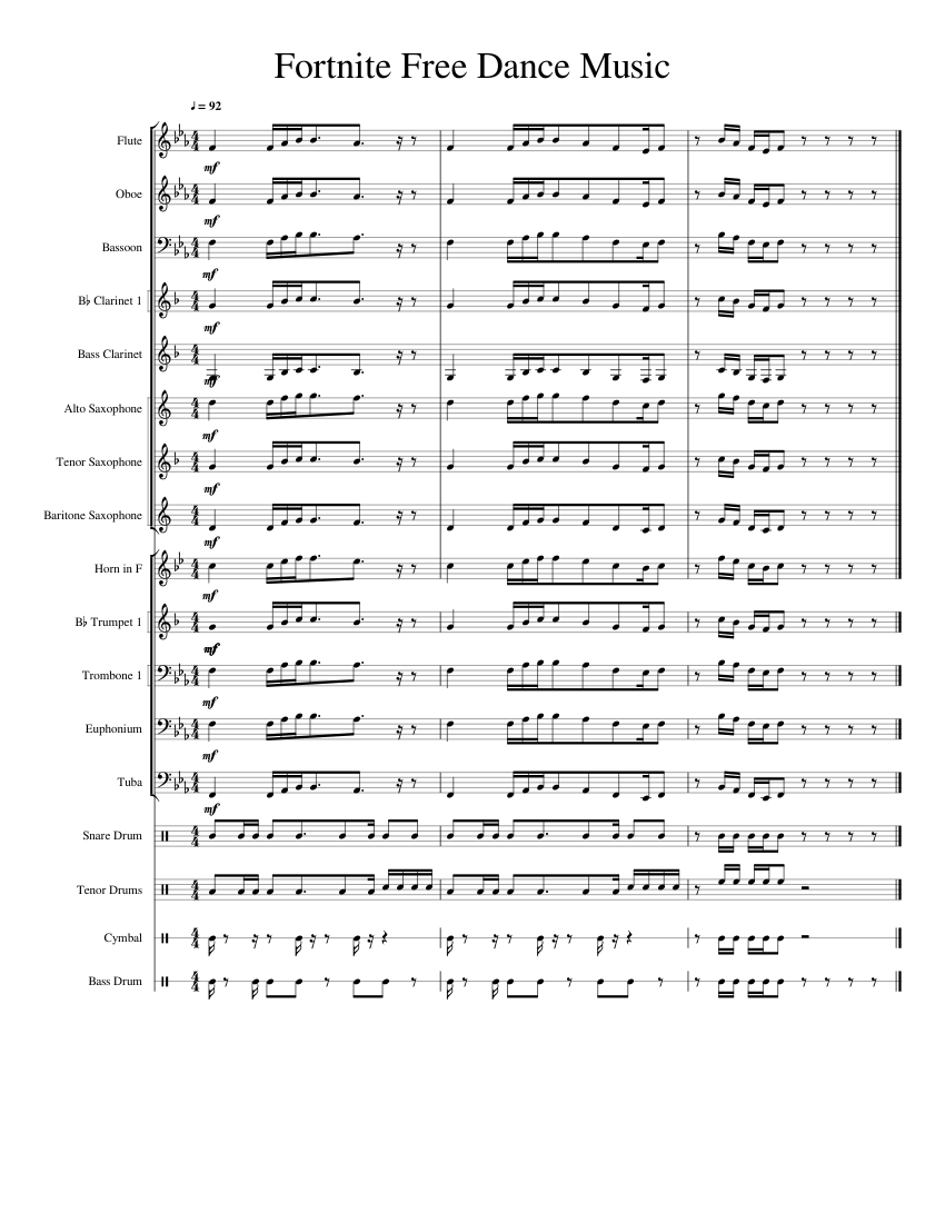 Fortnite Default Dance Music (Marching Band) sheet music for