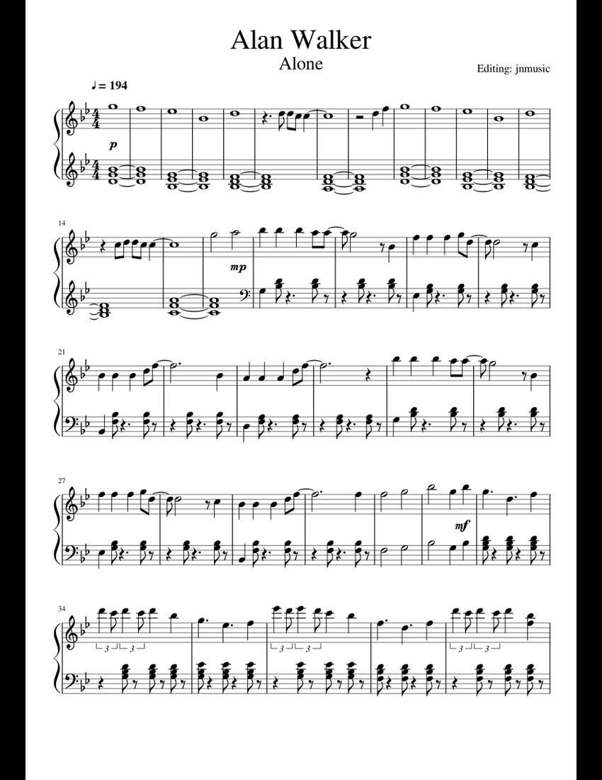 Alan Walker - Alone (Piano) sheet music for Piano download