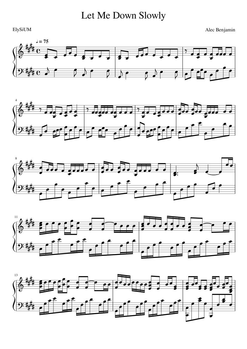 Alec Benjamin Let Me Down Slowly piano sheets Alessia Cara