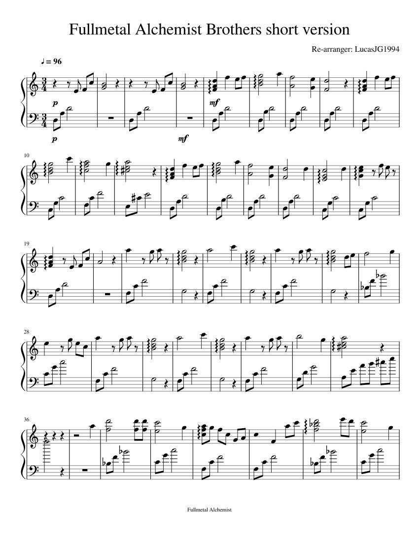 Fullmetal Alchemist Brothers short version Sheet music ...