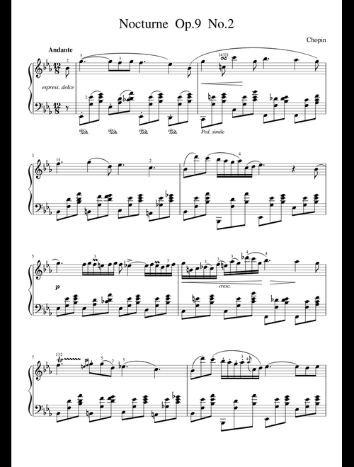 Chopin - Nocturne Op 9 No 2 (E Flat Major) sheet music for