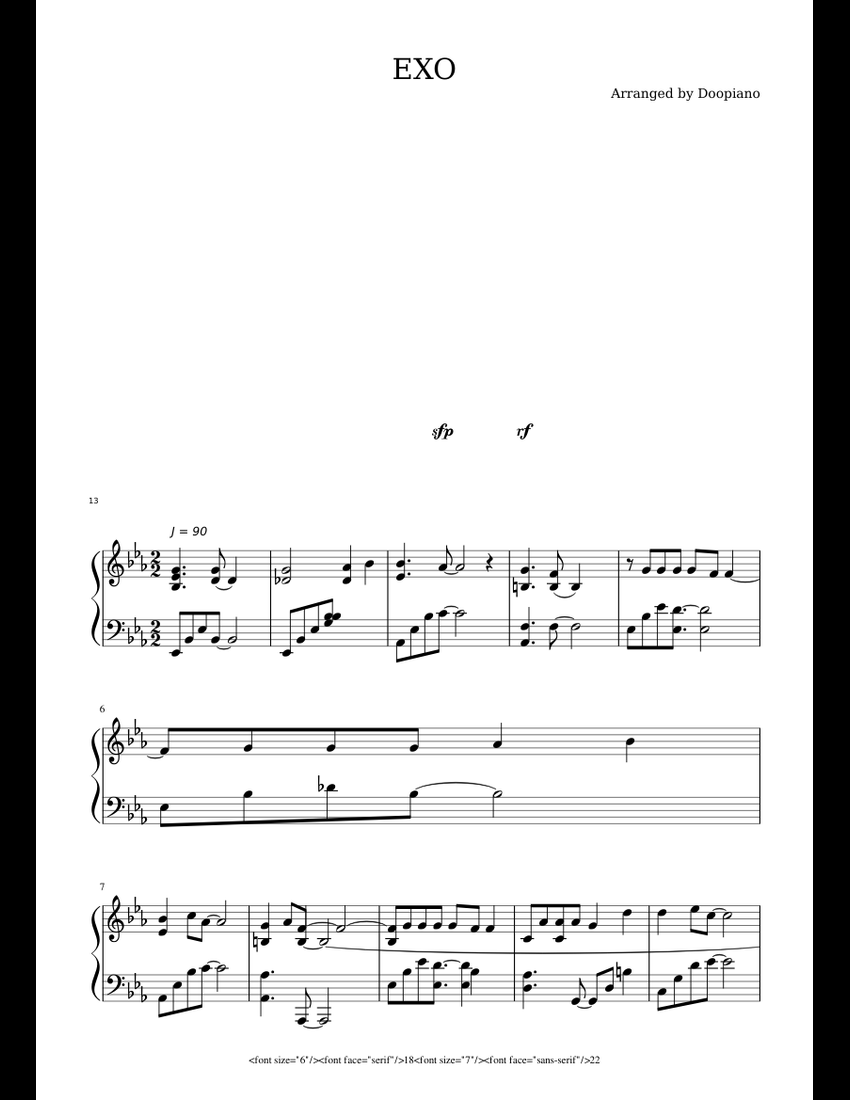 EXO - For Life sheet music download free in PDF or MIDI