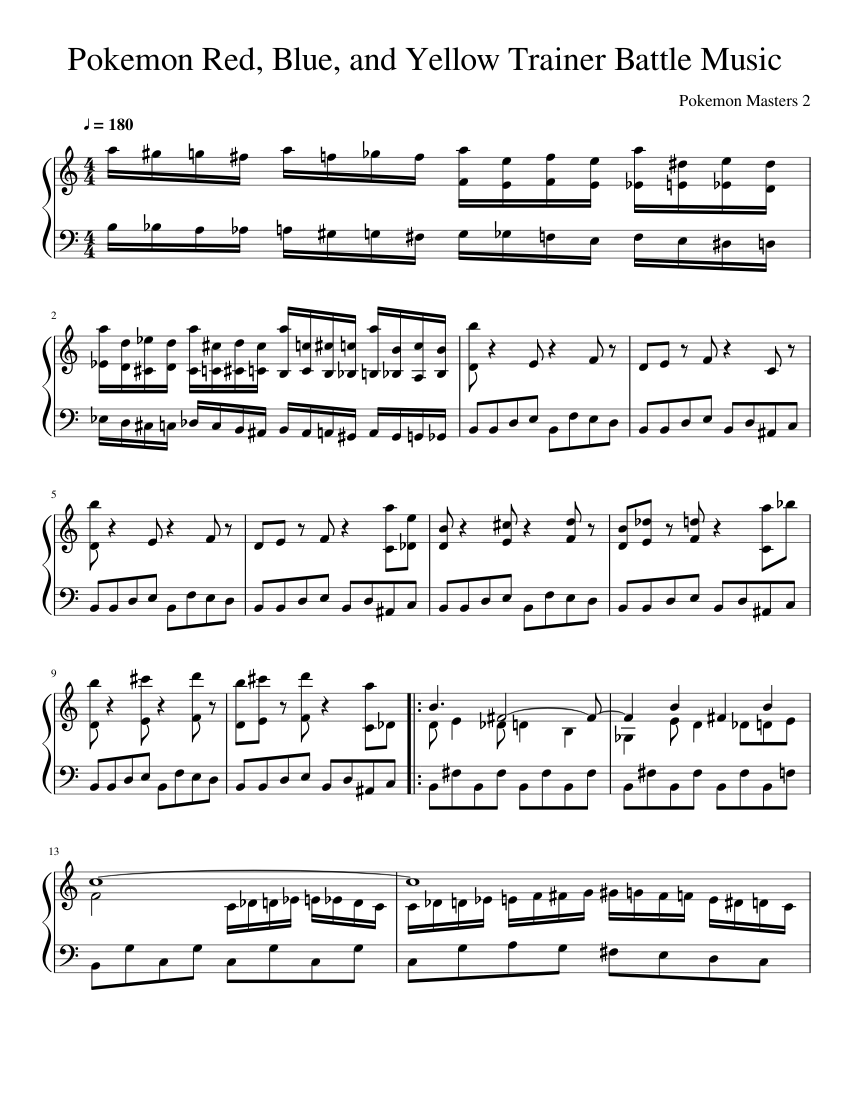 Pokemon Battle Theme sheet music for Piano download free in PDF or MIDI