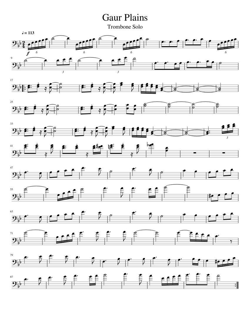 trombone solo sheet music - HD850×1100