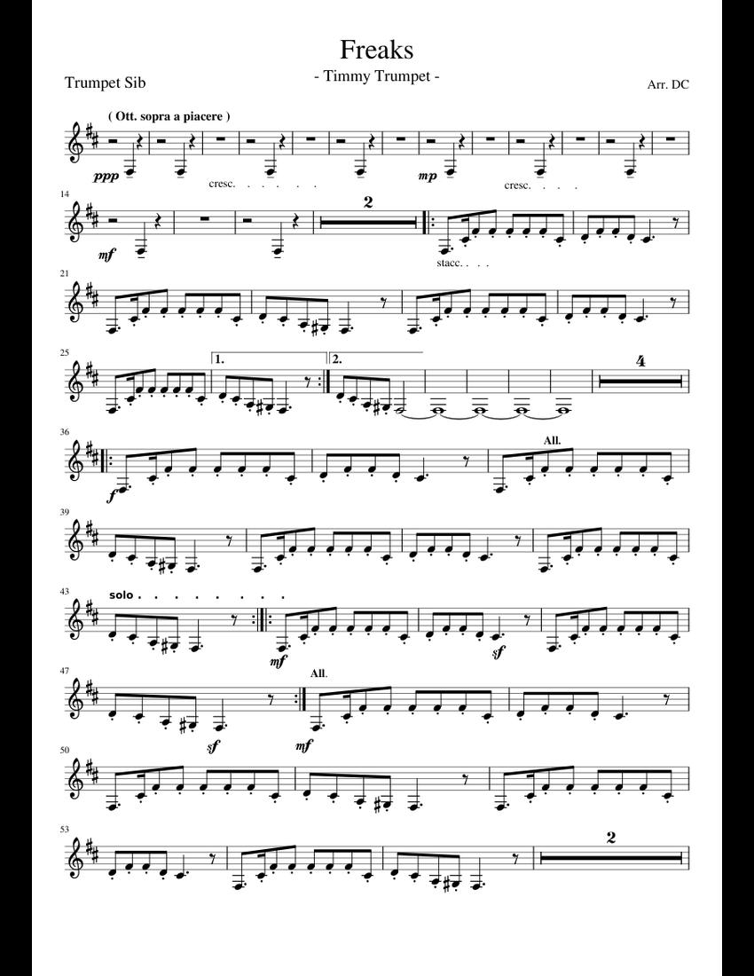 Freaks - Timmy Trumpet - (Trumpet Sib) sheet music for