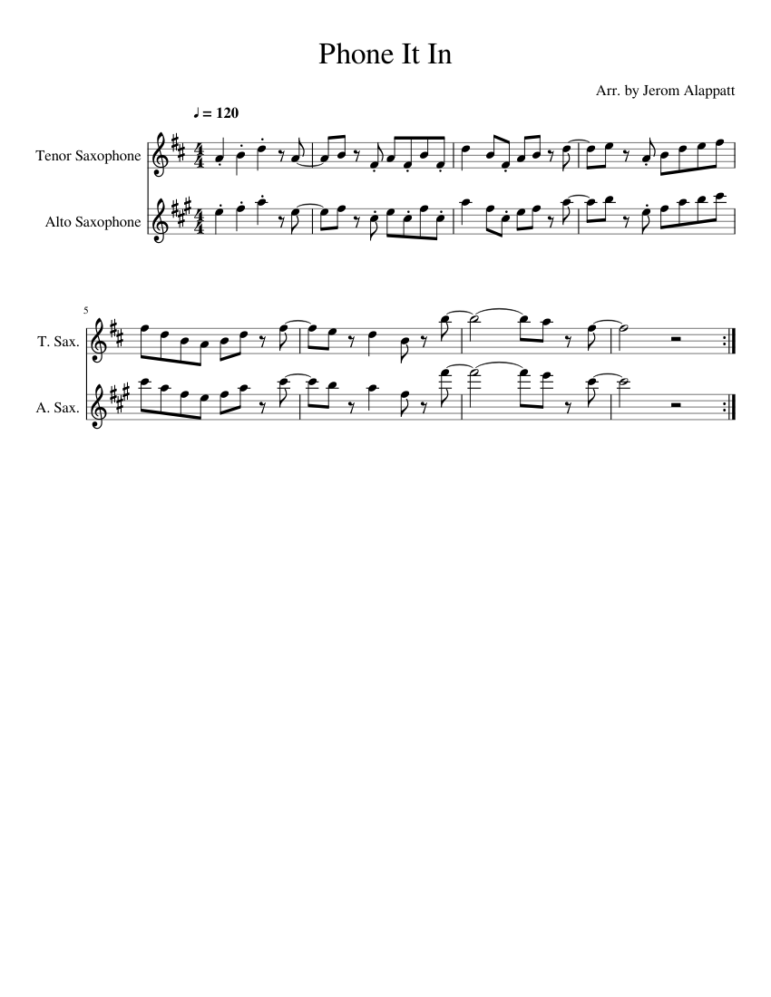 phone it in sheet music for tenor saxophone alto saxophone download free in pdf or midi - phone it in fortnite sheet music