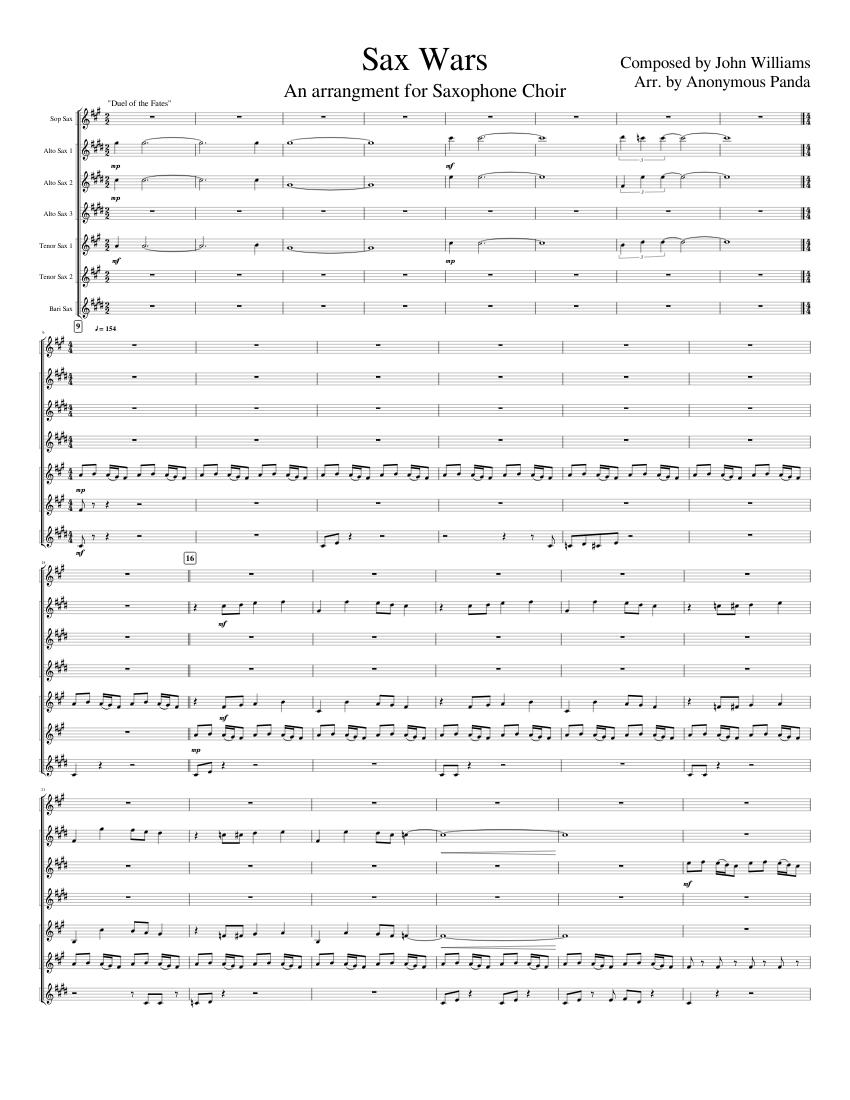 Sax Wars // Star Wars Medley sheet music for Soprano