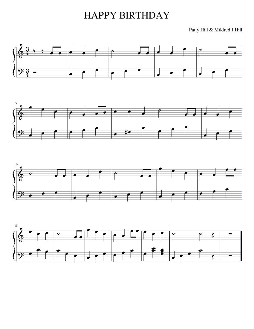 HAPPY BIRTHDAY - Piano Sheet music for Piano | Download free in PDF or MIDI | Musescore.com