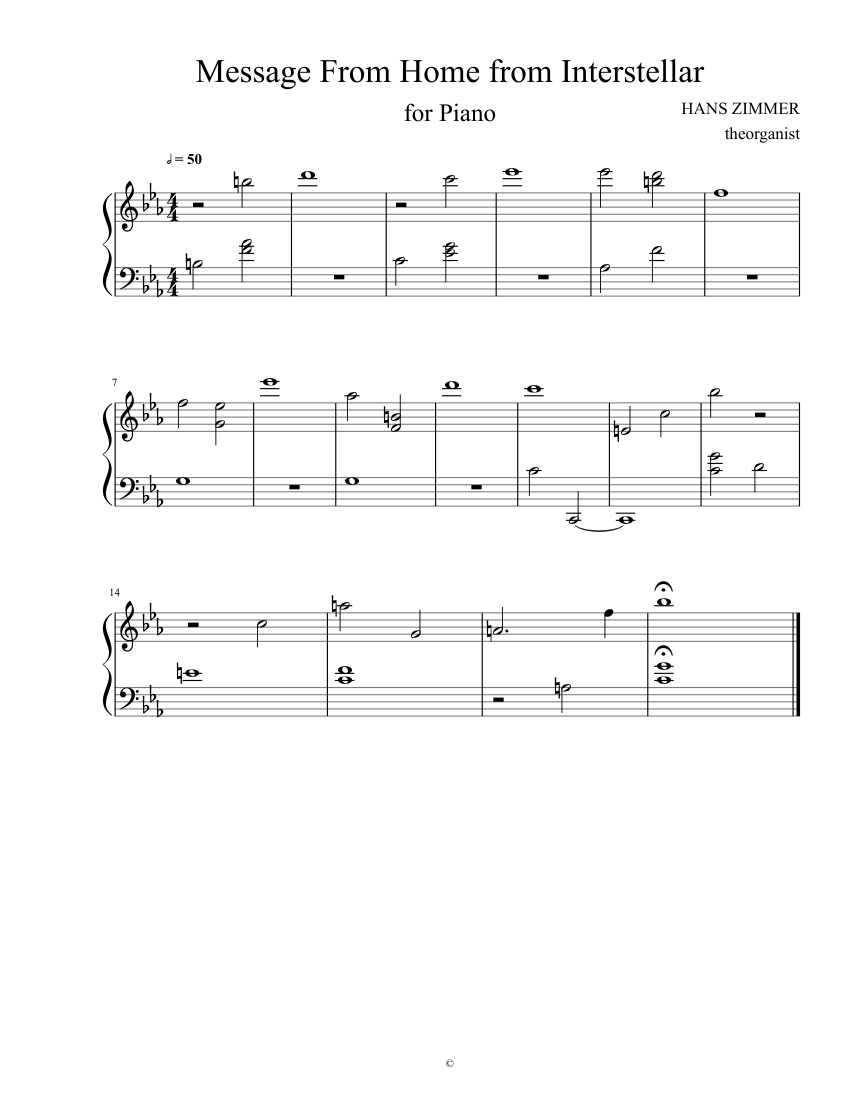 Interstellar Message From Home sheet music for Piano