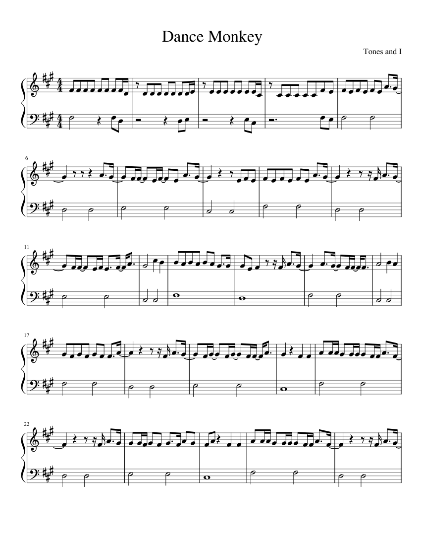 Dance Monkey By Tones And I Easy Sheet Music For Piano Solo Musescore Com